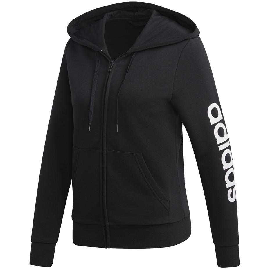 Bluza damska adidas W Essentials Linear FZ HD czarno biała