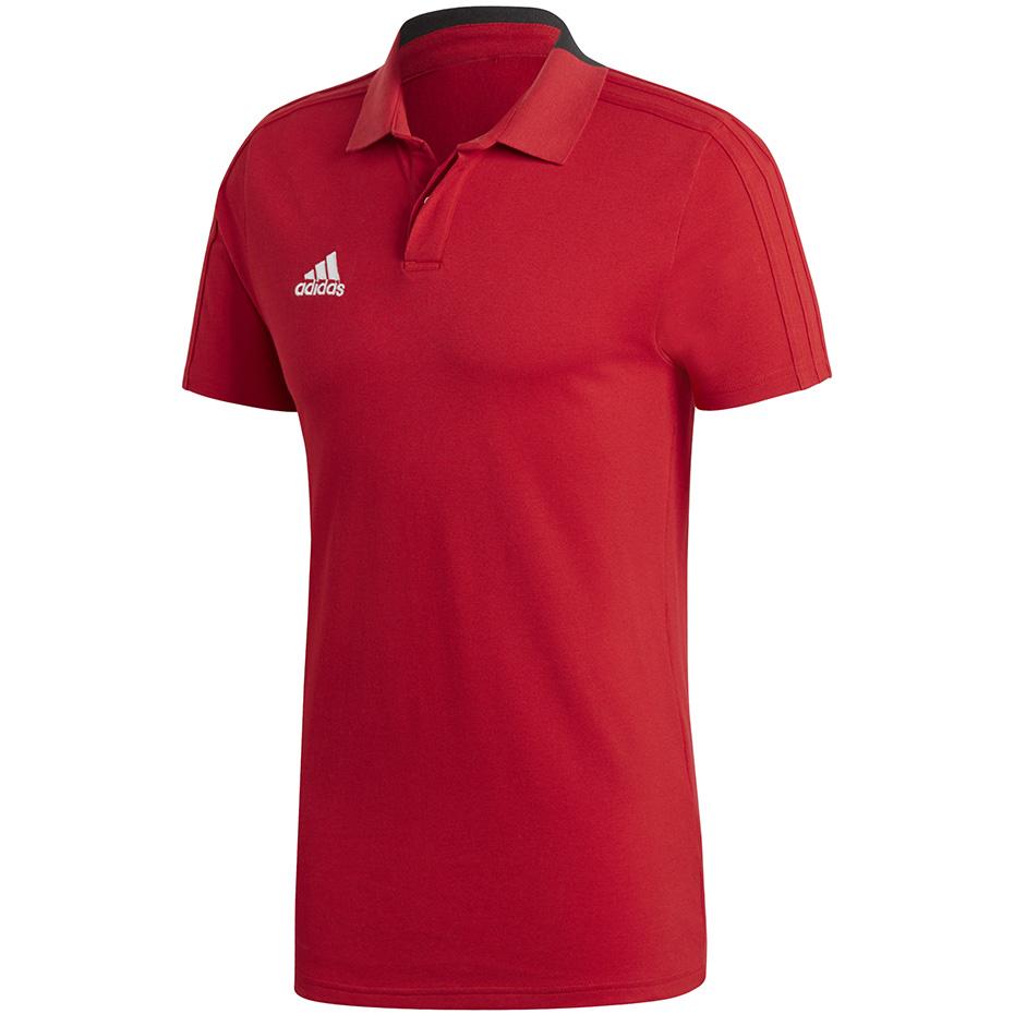 Koszulka męska adidas Team 19 Polo Men czerwono biała DX7266
