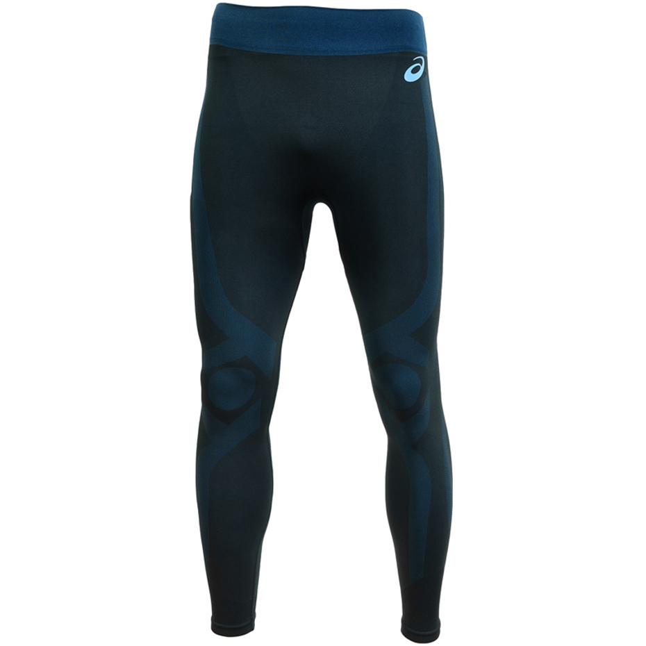 Legginsy męskie do biegania Asics Tight czarno niebieskie