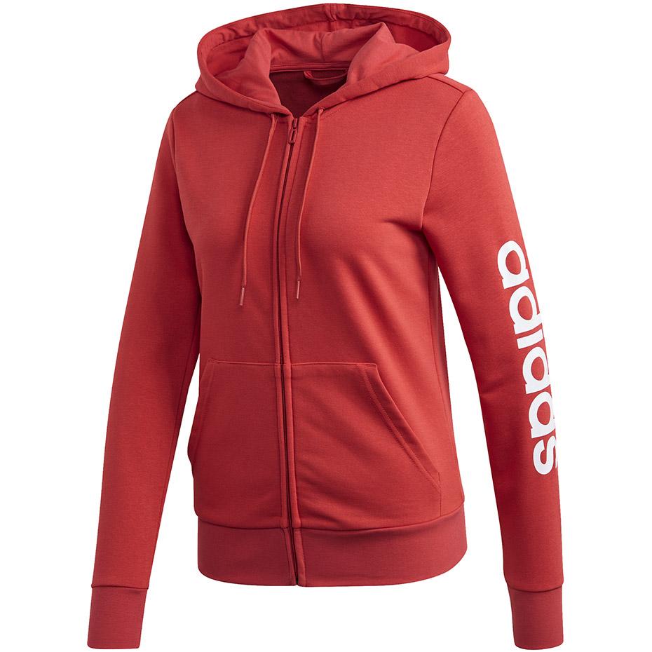 Bluza damska adidas W Essentials Linear FZ Hoodie czerwona