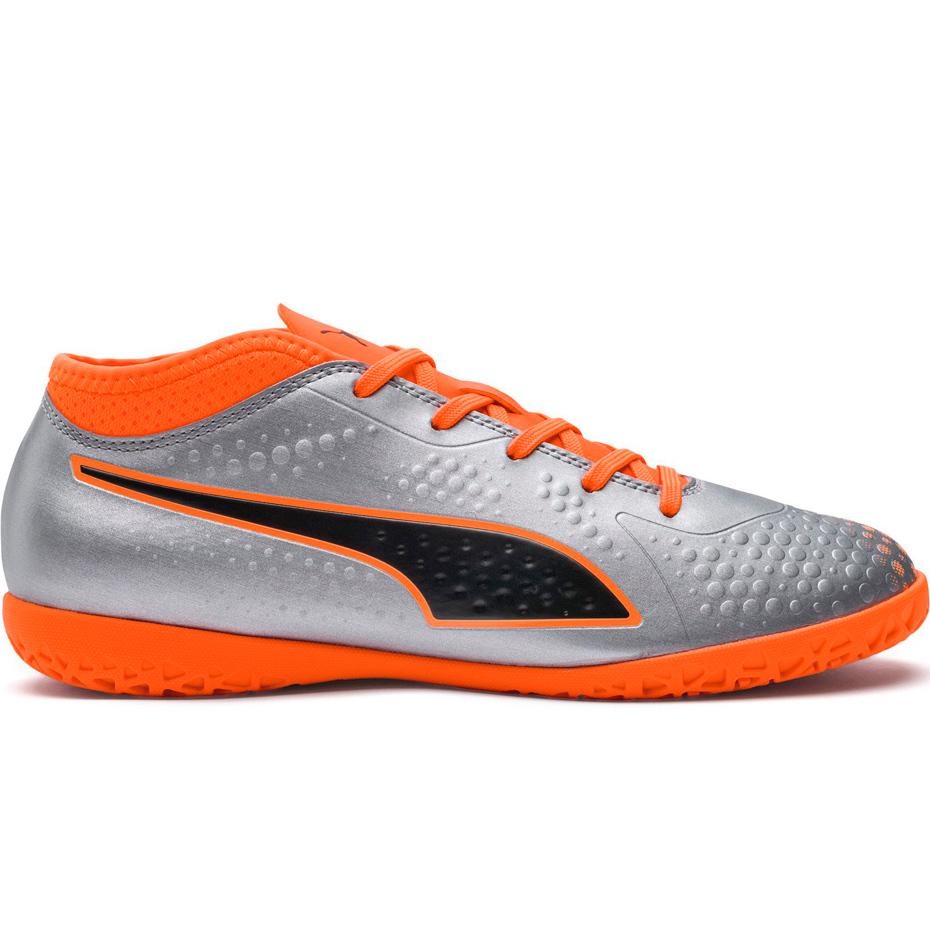 Buty piłkarskie Puma One 4 Syn IT JUNIOR szaro pomarańczowe
